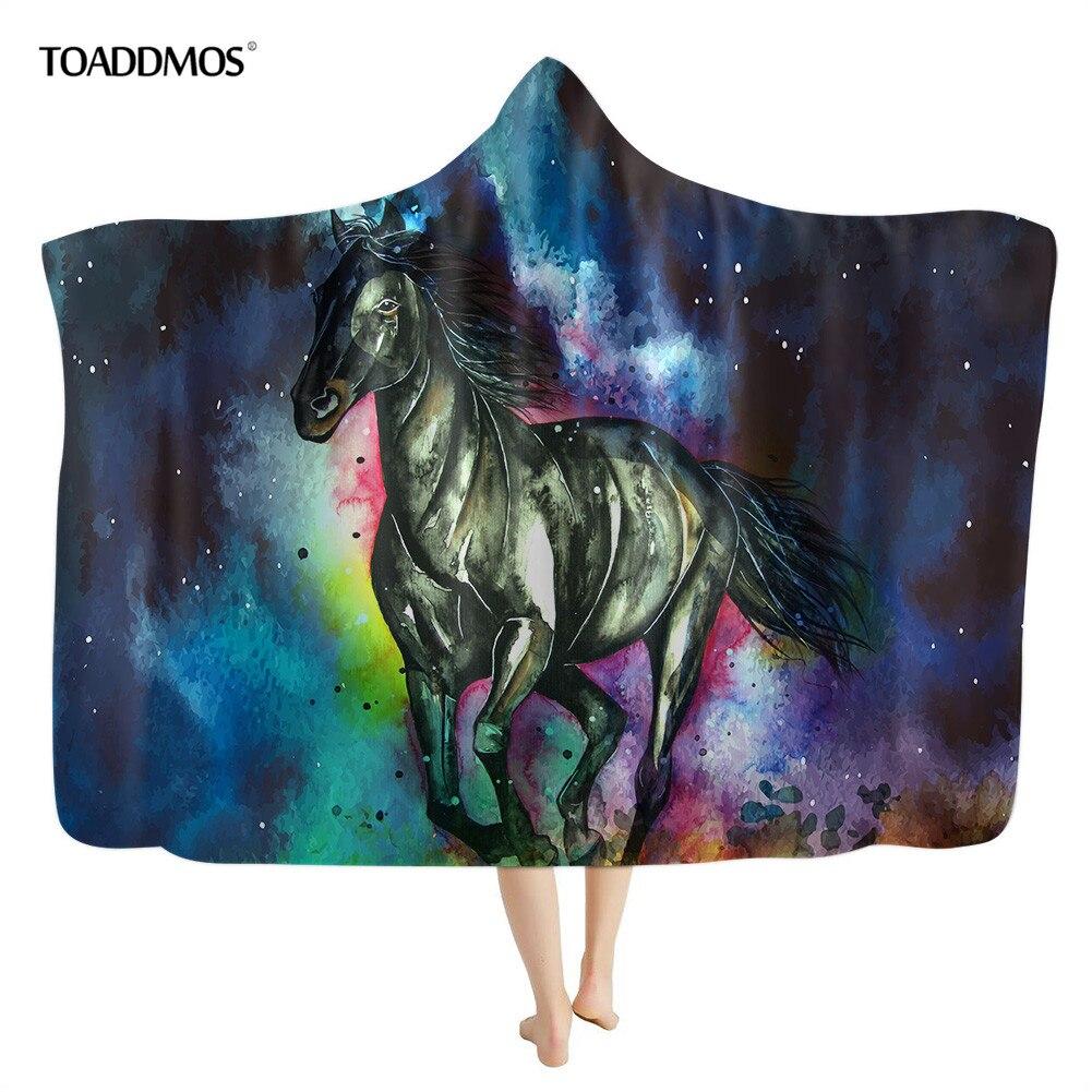 Toadimos المائية الحصان الفن طباعة الدافئة مقنعين بطانية للأطفال الكبار لينة يمكن ارتداؤها المنزل أريكة بطانية ثرو من الصوف مانتا