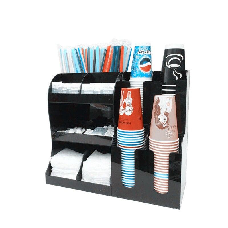 كوب و غطاء موزع المنظم الاكريليك حامل الكأس بار صندوق تخزين ورقة كأس البلاستيك الجرف فنجان شاي القهوة رف صندوق كوكتيل