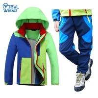 trvlwego autumn winter children softshell coat and pants set hood ski jacketpants windproof waterproof outdoor camping hiking