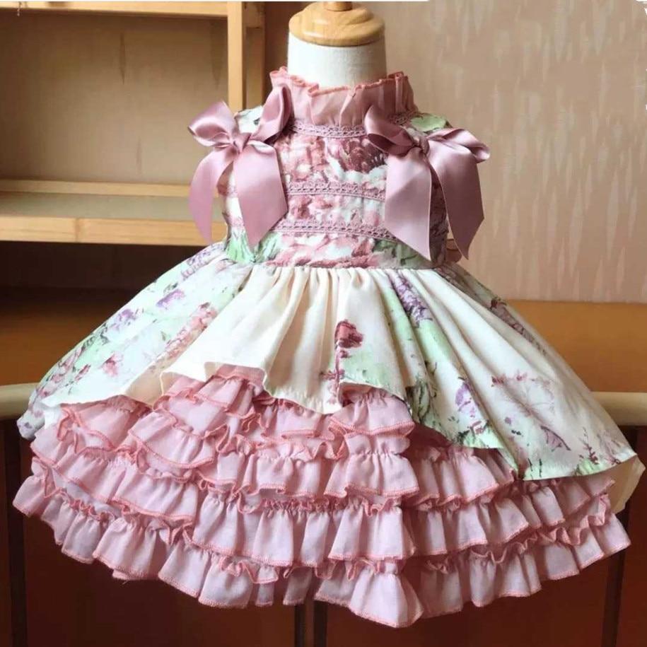 Crianças espanhol vestido de baile vestido meninas lolita princesa vestido crianças verão sem mangas vestido de festa de aniversário do bebê