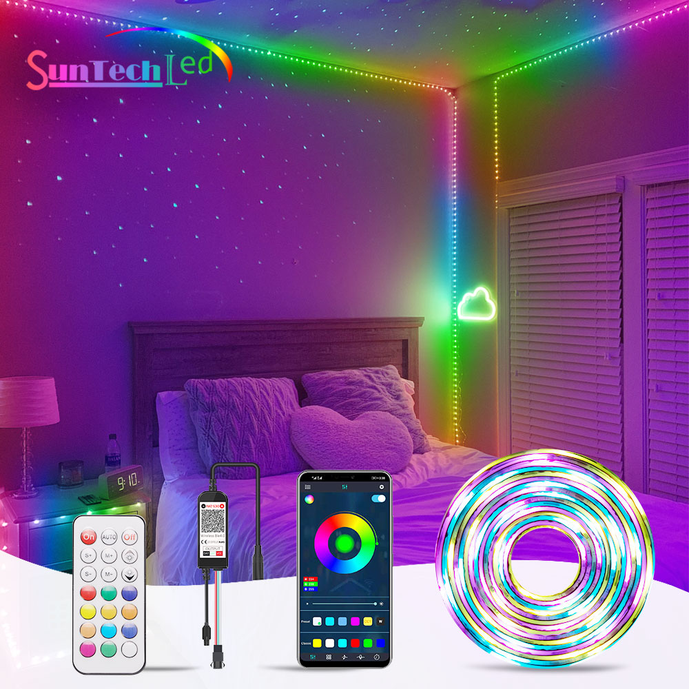Suntech WS2811 LED Strip Lights, Dreamcolor LED Lights With App Control,Rainbow Effect Light Strip For Bedroom, Kitchen, Party