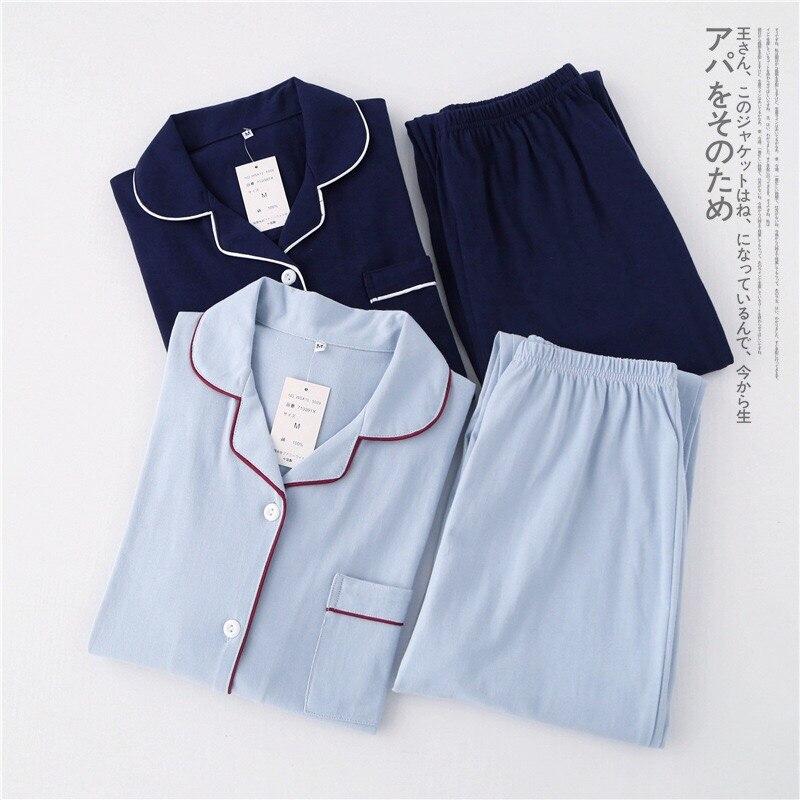 Повседневный пара однотонный 100% 25 хлопок пижамы комплекты мужские осень пижамы с длинным рукавом одежда для сна мужские пижамы японские пижамы для мужские