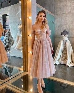CloverBridal Romantic Women Short robe de soirée de mariage ShinningTea Length Prom Dress Special Occasion Dresses WP9824
