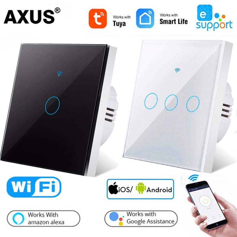 AXUS 1/2/3 Gang TUYA WiFi Smart Touch Switch 110-250V Smart Life Wall Light Switch Smart Home for Alexa Google Home Assistant