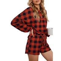 xmas women homewear outfits long sleeve shorts tie dye printing red plaid elastic waist drawstring loose autumn pajama sets