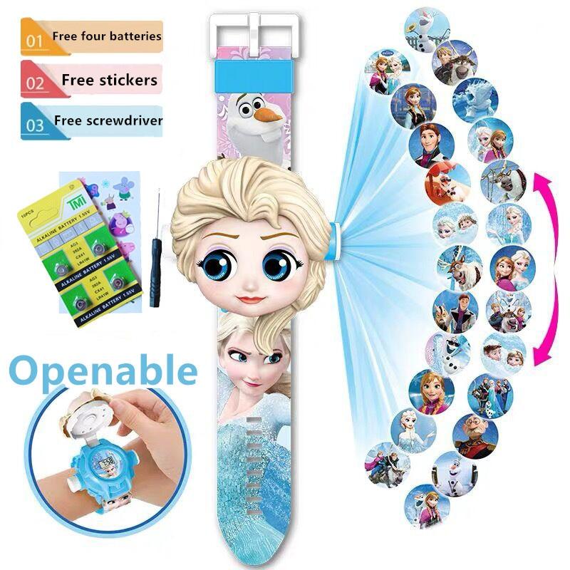 Children Watch Superhero Aisha Ultraman 24 Projection Cartoon Pattern Digital Children's Watch Boy Girl LED Display Clock Gift