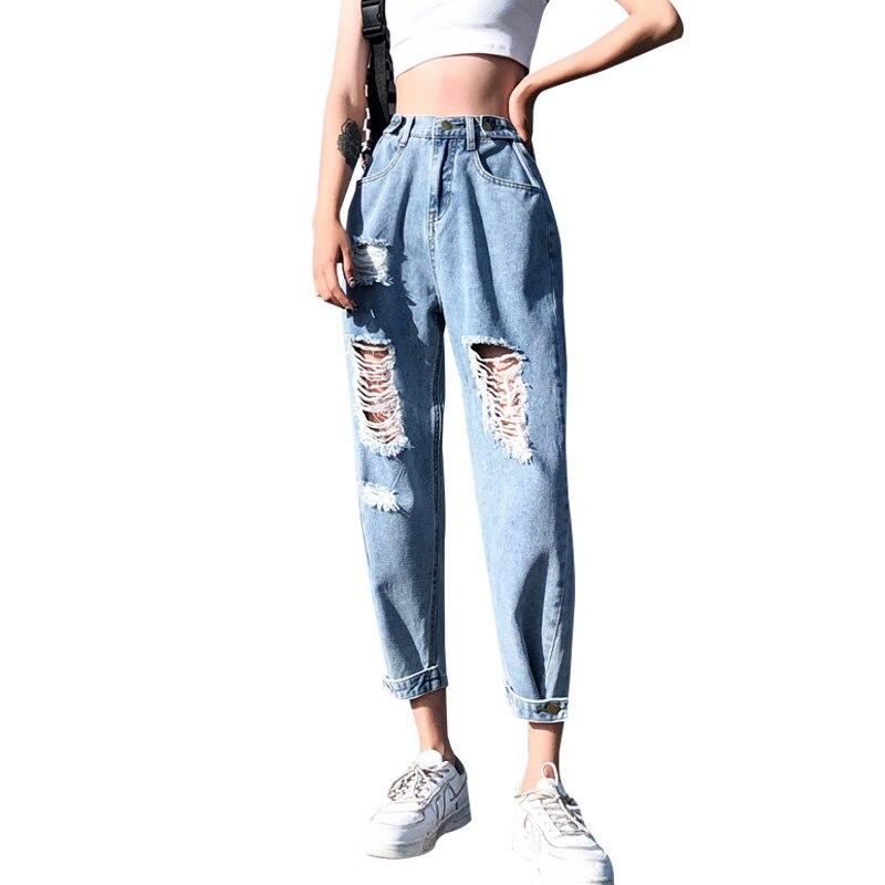 New Korea Fashion Vintage Ripped Boyfriend Jeans For Women Fashion High Waist Blue Jeans Plus Size Jeans 4XL 5XL