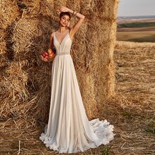 Lace Chiffon Outdoor Ranch Rustic Wedding Dress Custom Made Illusion V Neck Sheer Back 2021 Photogra
