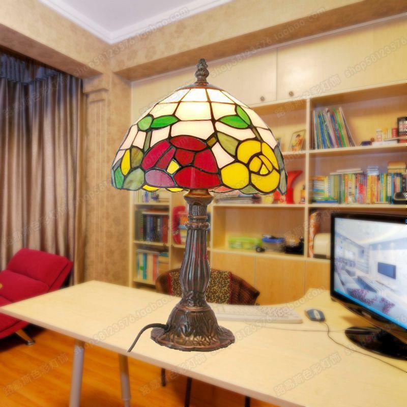 Tulip garden small night table lamp Tiffany lamps children eye glass computer desk bedroom bedside lighting