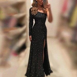 Elegant One-Shoulder Evening Dresses Long Luxury 2021 Women Sleeve Spilt Sequined Black Prom Dress  Vintage Mermaid Ball Gowns