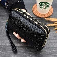 Portefeuille femme multifonction peau de vache femmes portefeuille Long en cuir véritable téléphone sac à main portefeuille porte-cartes pour les femmes 2020 nouveau
