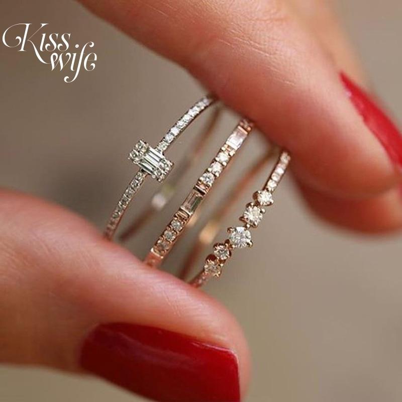 Kisswife 3 Stks/set Crystal Twist Ring Set Voor Vrouwen Koppels Goud Kleur Vrouwelijke Engagement Bruiloft Sieraden Nieuwe Infinity Ringen