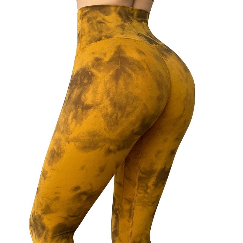 Tie Dye High Waist Sport Gym Yoga Capri Leggings Women Hip Line Workout Fitness Cropped Pants