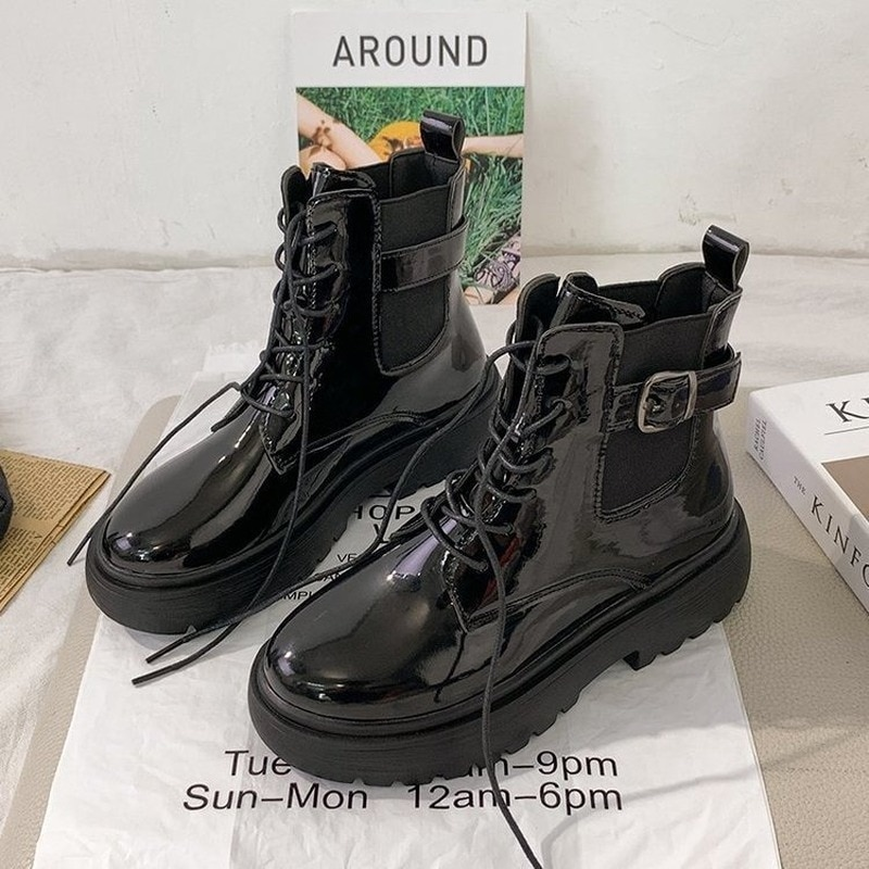 Martin Boots for Women 2021 New Casual Belt Buckle Women's Ankle Boots Black Woman Shoes for Autumn