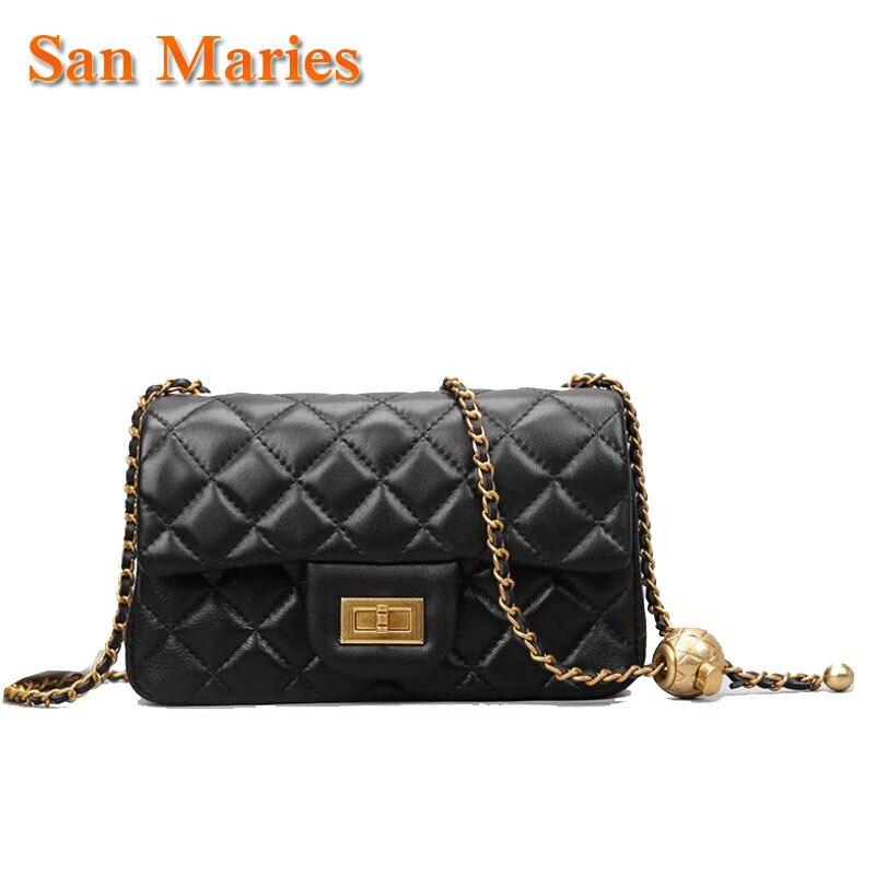 San Maries-حقيبة يد نسائية من جلد الغنم ، حقيبة يد ، ماركة فاخرة ، عصرية ، سلسلة ذهبية ، مصمم بغطاء ، مجموعة جديدة