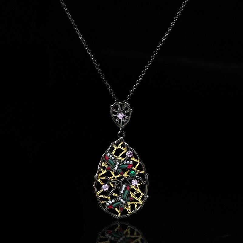 Vintage oco cor diamante preto ouro pingente borboleta libélula colar clavícula corrente alta jóias acessórios de casamento