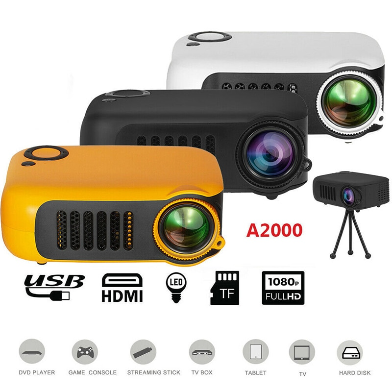 Mini Portable Pocket Projector HD 1080P LCD Movie Video Home Theater HDMI USB PUO88