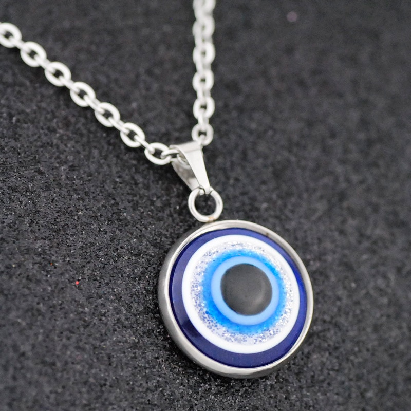 aliexpress.com - Stainless Steel Lucky Turkey Evil Eye Necklace for Women Short Chain Small Choker Necklace Cute Blue Eye Pendant Charm Necklace