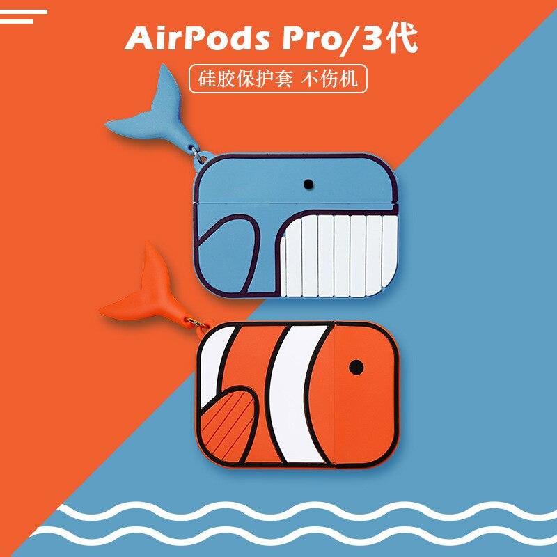Funda protectora de dibujos animados payaso pez para airpods pro funda bonita para apple Auriculares inalámbricos con bluetooth