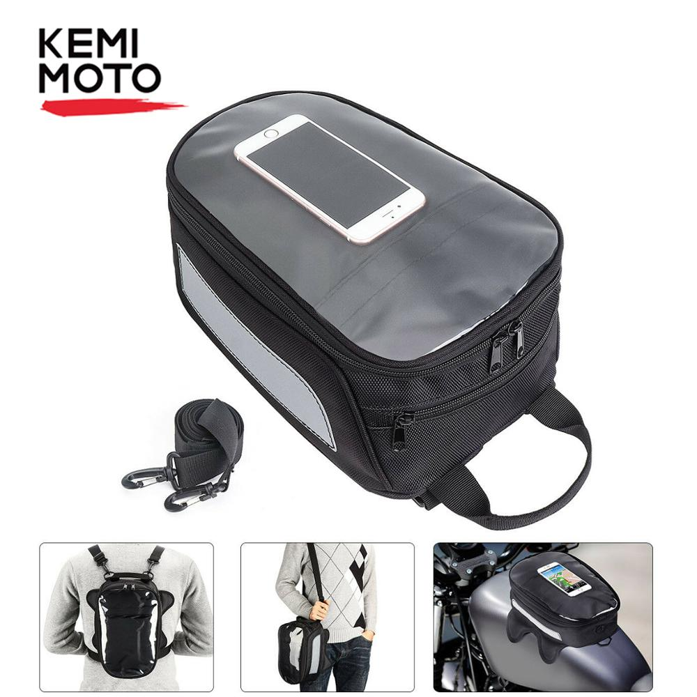 KEMiMOTO Motorcycle Oil Fuel Tank Bag Magnetic Motorbike Saddlebag Phone Holder Storage For Honda For Yamaha For Aprilia RSV1000