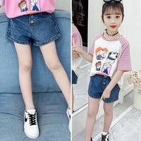 girls denim shorts kids soft denim pocket short jeans pants for teenage casual trousers kids shorts