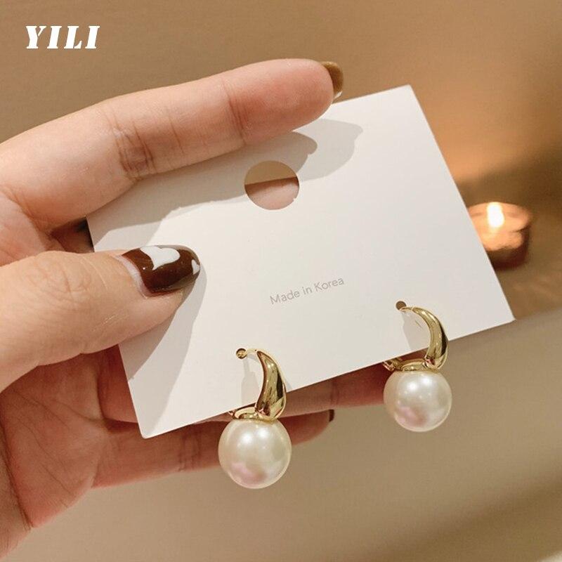 2021 New Elegant Gold Pearl Drop Earrings Korean Fashion Pearl Earrings for Girl Women Wedding Party