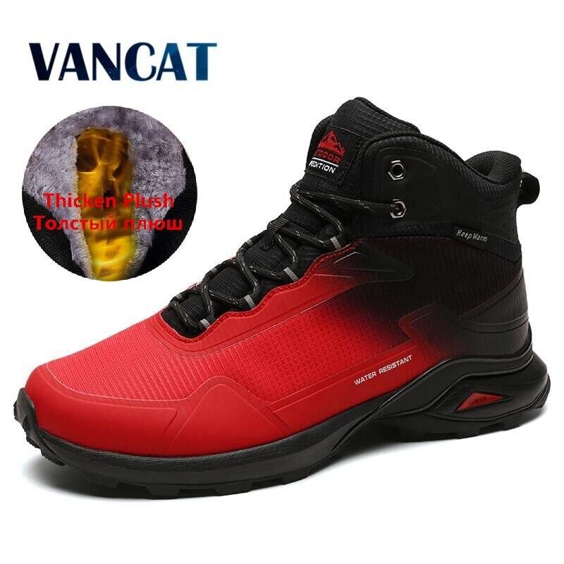 Botas de marca para hombre, botas de nieve cálidas de felpa, Botas de senderismo antideslizantes para exteriores, Zapatillas altas impermeables, botas de invierno para hombre, talla 40-48