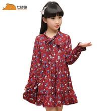 Robes dété pour filles   En mousseline, motif floral, longues manches, pour 3 5 7 8-10-12 ans