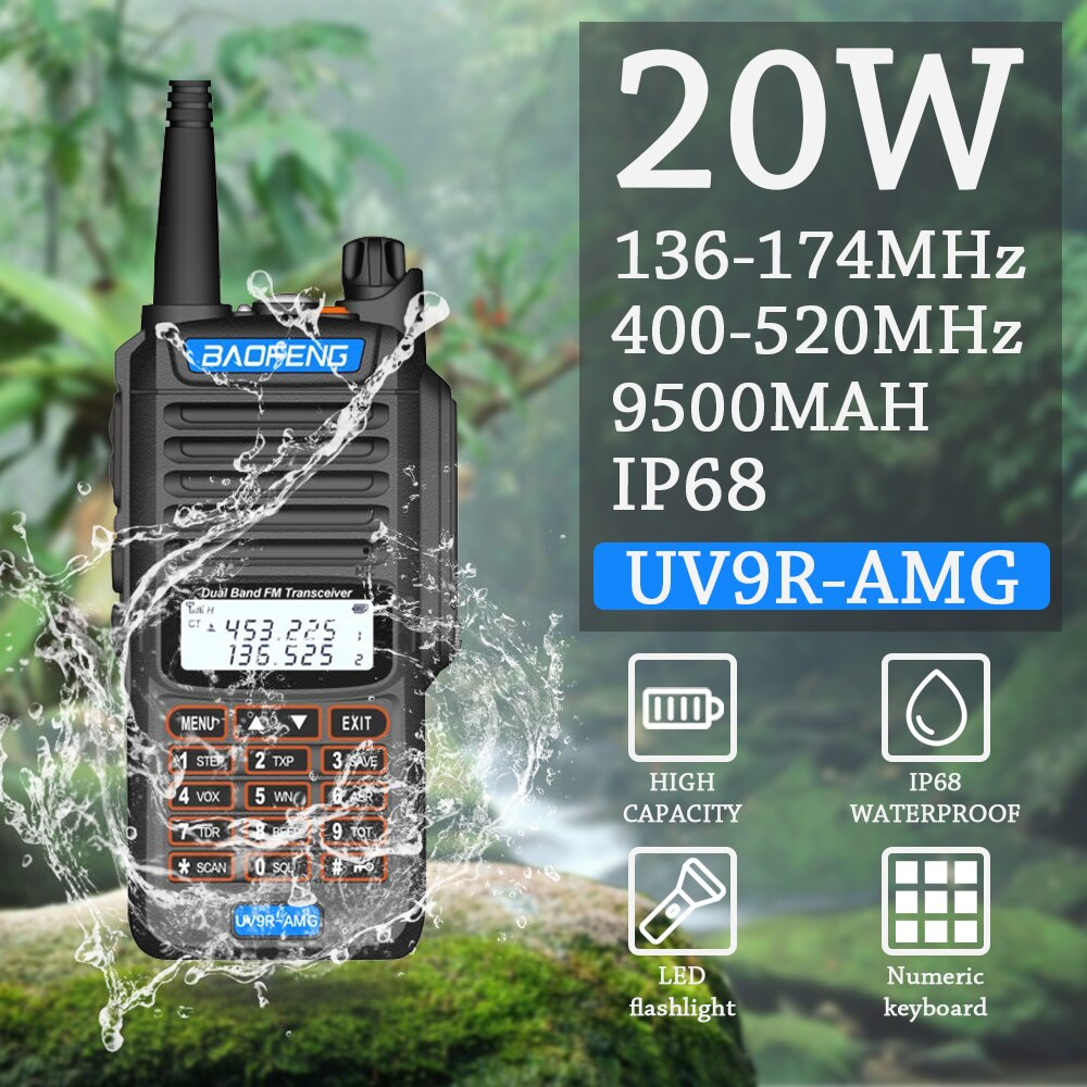 1Pcs High Quality 20W 25km Baofeng UV-9R AMG Ham Radio CB Radio Comunicador Waterproof Walkie Talkie Baofeng UV-9R AMG Pация