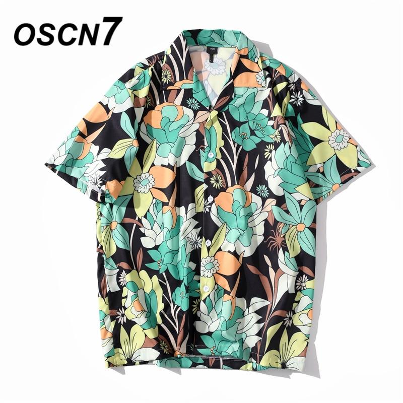 Ropa de calle informal OSCN7, camisa de manga corta estampada para playa, para hombre 2020, camisetas para mujer Harujuku a la moda de gran tamaño XQ120