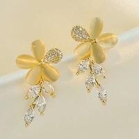 yaologe crystal rhinestone golden white earrings elegant fairy whole flower plant stud earrings ladies gift 2020 fashion jewelry