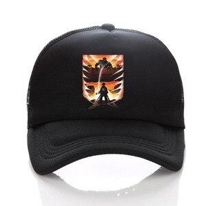 anime Attack on Titan Regiment Scout Legion Symbol Black Mesh Trucker Baseball Cap Snapback hat For Men Women