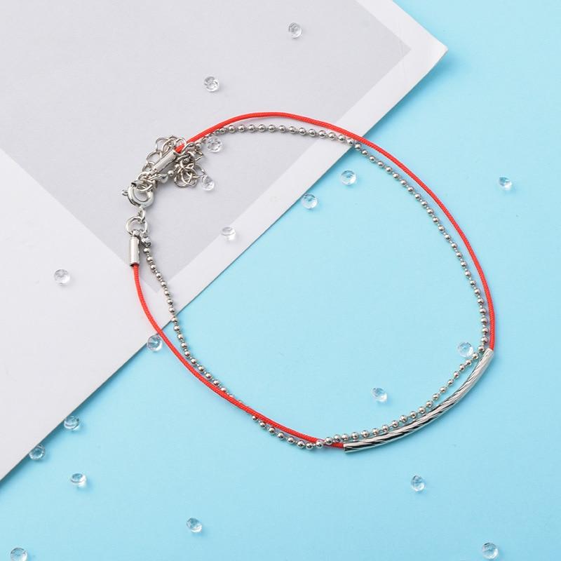 Браслет KPOP для мальчиков и женщин, кожаный браслет с Красной веревкой