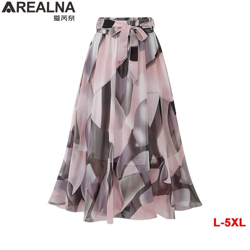 2020 Summer sexy Chiffon skirts womens Elastic High Waist jupe femme Plus Size Vintage falda Bow Print Floral Midi Skirt Saia5XL