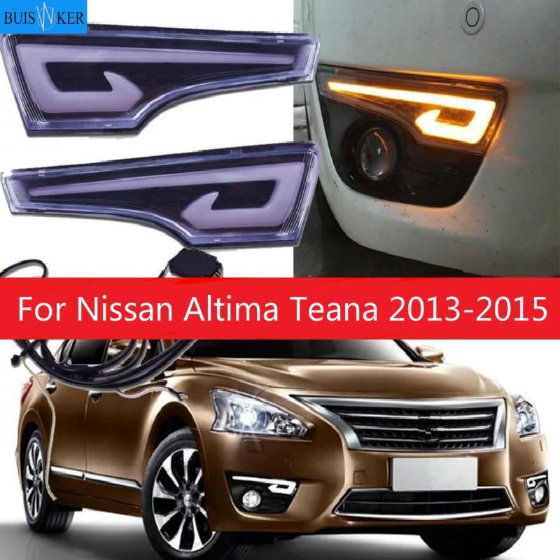 1 par de luces de circulación Diurna LED DRL para coche, parachoques, luz antiniebla, cubierta de lámpara, estilo de conducción para Nissan Altima Teana 2013 2014 2015