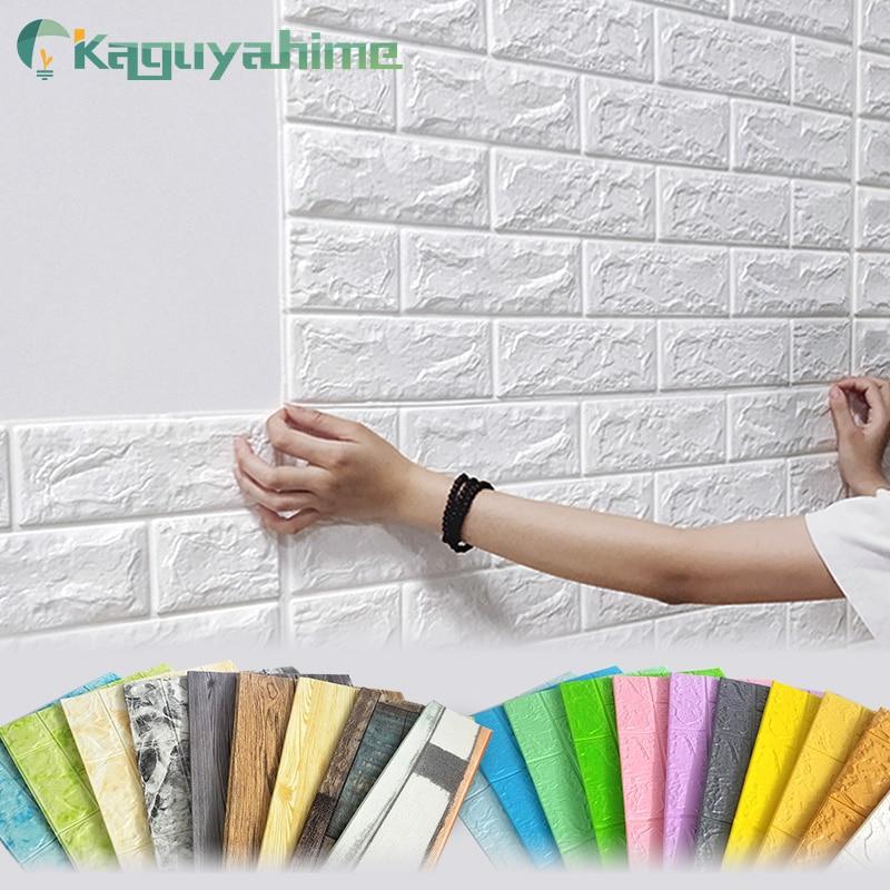 =(K)= Kaguyahime 3D DIY Stickers Self-Adhesive Decor Wallpaper For Kids Room Kitchen Bedroom Waterproof Sticker Wallpaper Brick
