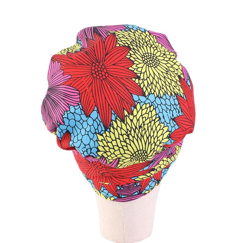 New African Style Children's Satin Lining Round Hat Ribbon Bandage Headdress Cap Nightcap Double Layer Parent-child Cap  Kids