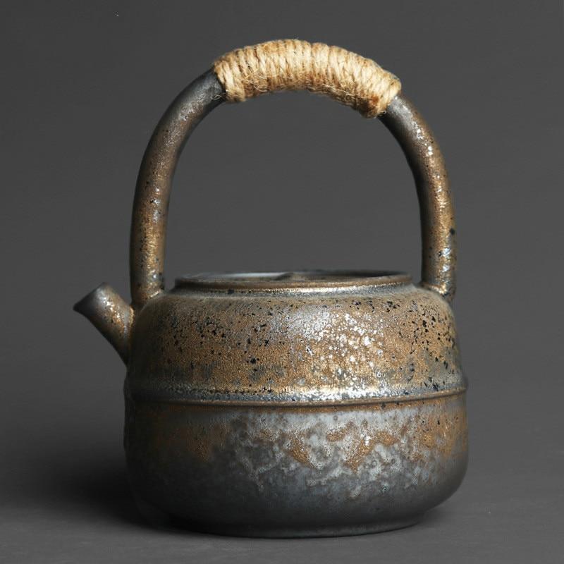 460 مللي فرن فخار خشن حنين ياباني للتعامل مع إبريق شاي من السيراميك جهد يدوي واسع الفم غلاية ساخنة طقم شاي