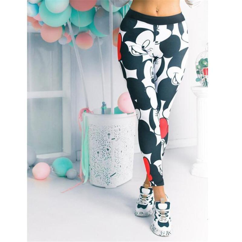 Cartoon Mickey Printed Leggings Women Stretchy Fitness Sweatpants Gym Pants Female Sexy High Waist Push Up Leggings Plus Size