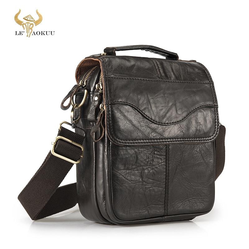جودة الأصلي جلد الذكور عادية الكتف حقيبة ساعي جلد البقر الموضة عبر الجسم حقيبة 8
