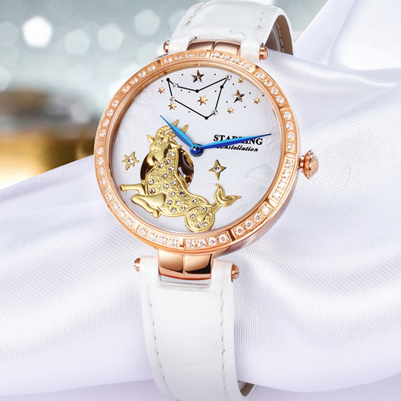 STARKING Women Watch 2020 Brand Luxury Leather Capricorn Constellation Ladies Watch Fashion Casual Simple Wristwatch Clock Women enlarge