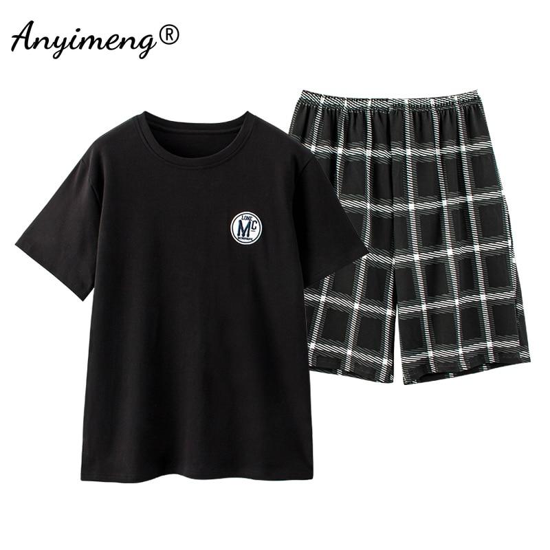Plus Size Male Pajama Set Summer Shorts Pullover Black Badge Fashion Sleepwear Plaid Bottoms Man\'s Two Pieces Men Nightwear New