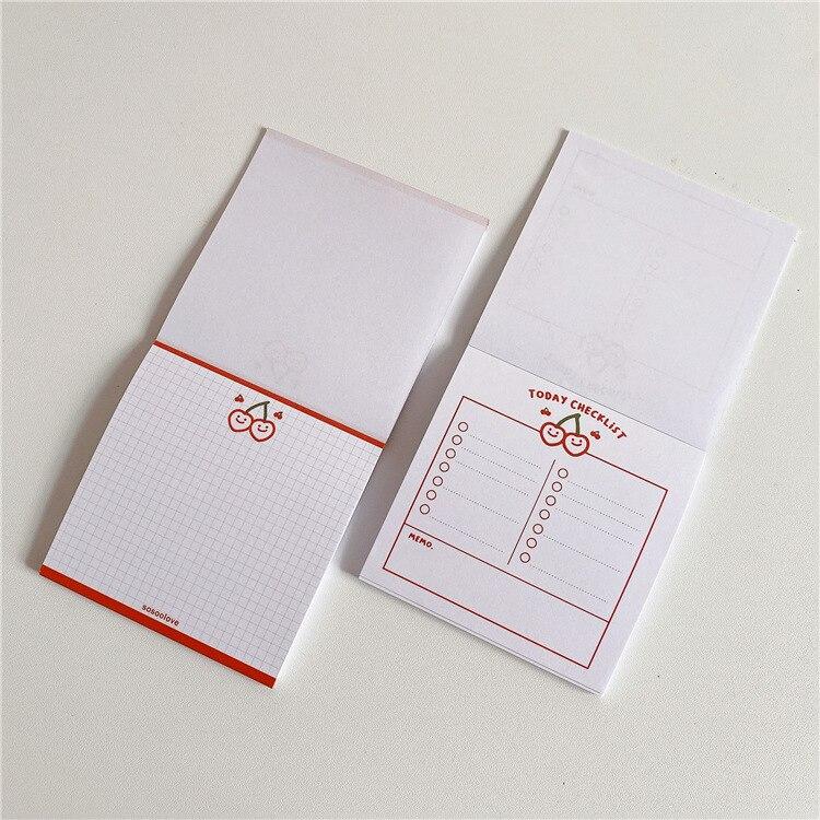 50 листов красная вишня блокнот Kawaii простой блокнот бумажный планировщик наклейки ученик сделать список Творческие Школьные принадлежност...