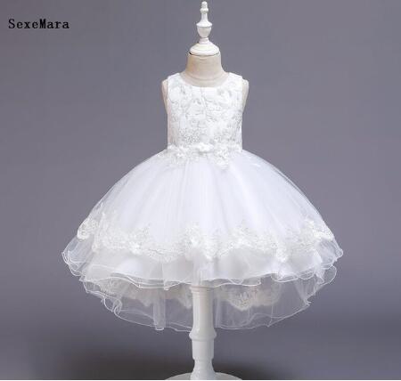 Novos vestidos baratos para meninas 1st ano de aniversário rendas applique vestido de festa de casamento infantil criança 1-14yrs crianças pano