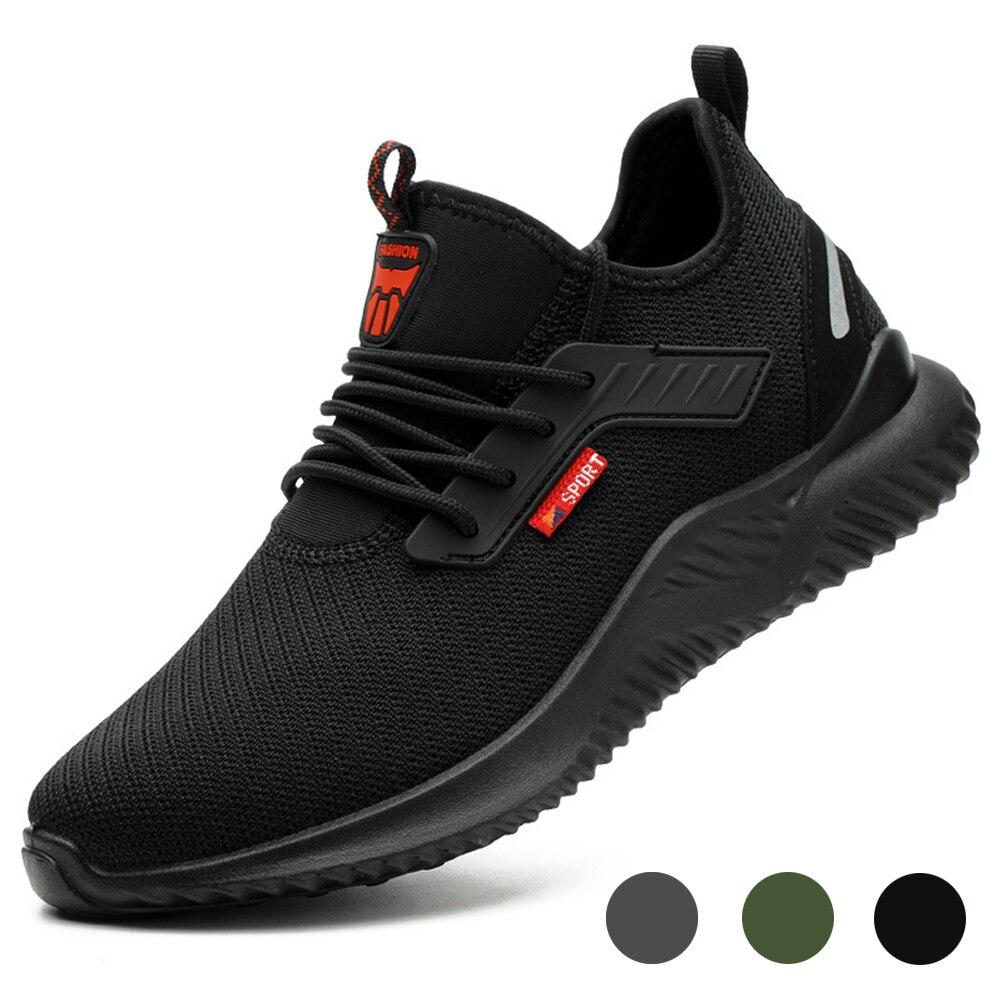 العمل أحذية رياضية مكافحة تحطيم الصلب أحذية سلامة بفتحة لأصبع القدم ثقب برهان البناء خفيفة الوزن تنفس أحذية رياضية الرجال النساء