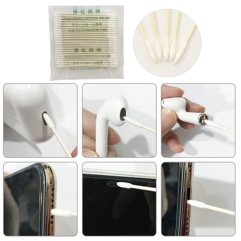Para Apple Airpods funda 25x/50x algodón desechable Stick herramienta de limpieza para AirPods 2 1 auricular puerto de carga para Airbods 2 algodón