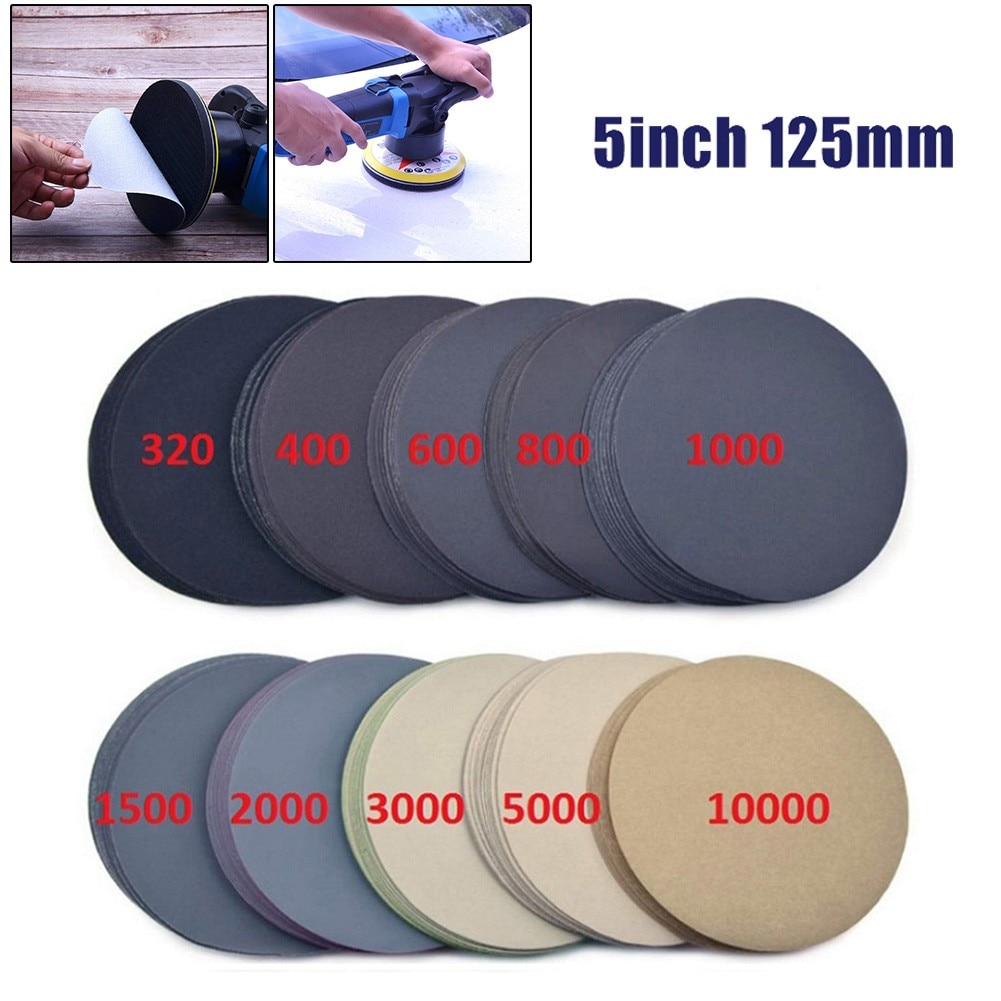 100pcs 5inch 125mm Waterproof Sanding Discs Hook & Loop Sandpaper 320-10000 Grit  Wet Dry Flocking
