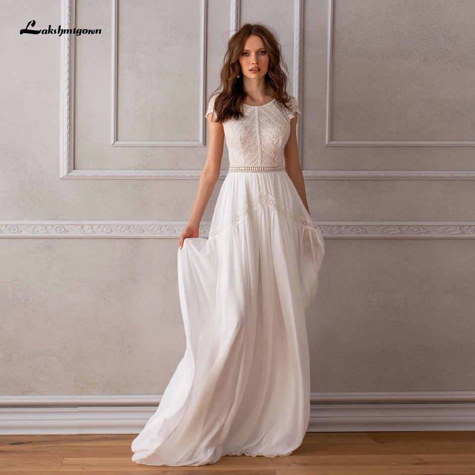 Lakshmigown-فستان زفاف طويل ، بسيط ، بوهو ، رسن ، طويل ، دانتيل عتيق ، أنيق ، مجموعة 2020