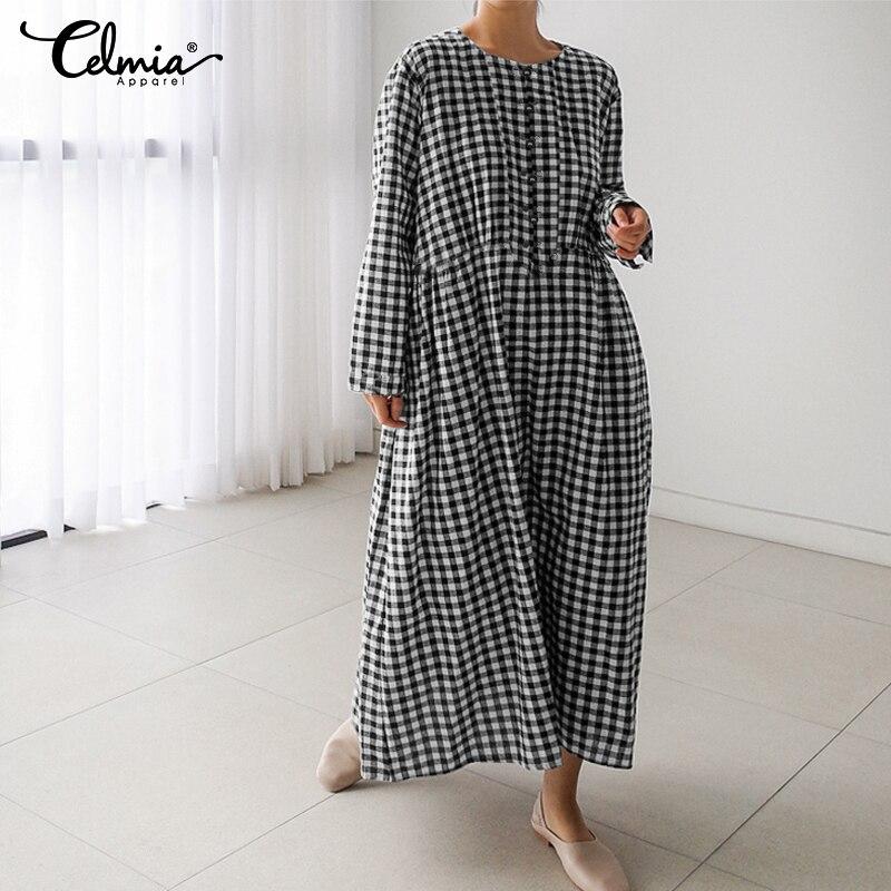Celmia moda Casual mujer manga larga suelta camisa Vintage vestido Plaid Maxi Vestidos elegantes fiesta Vestidos de gran tamaño mujer 5XL