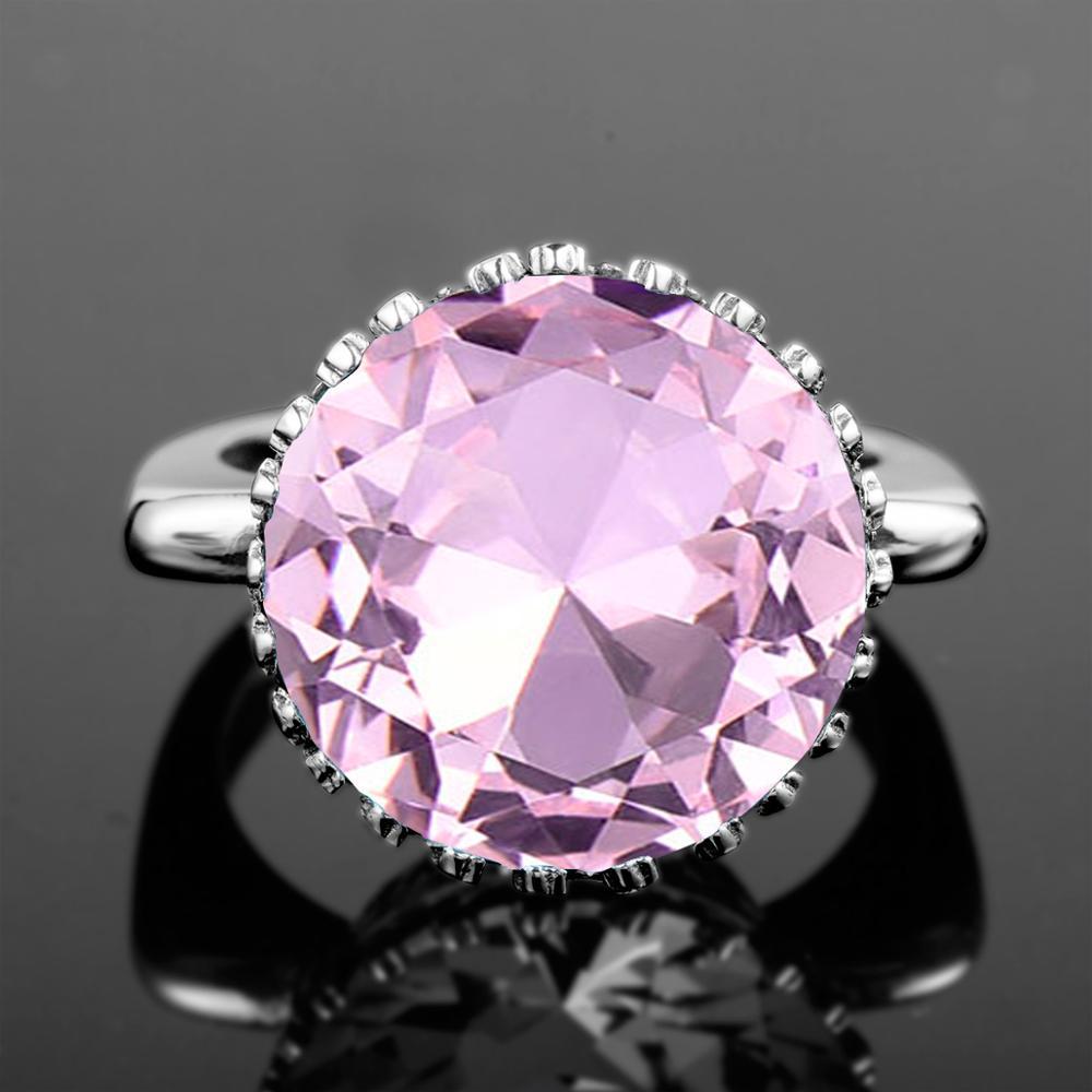 Joyería superior, anillo de cristal rosa de piedras preciosas de moda de 100% genuina de 925 anillos de plata esterlina 925, joyería creativa de buenos de lujo para mujeres